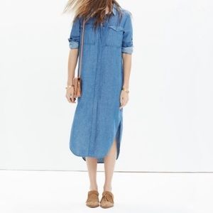 Madewell Cotton/Linen Chambray Midi Shirtdress